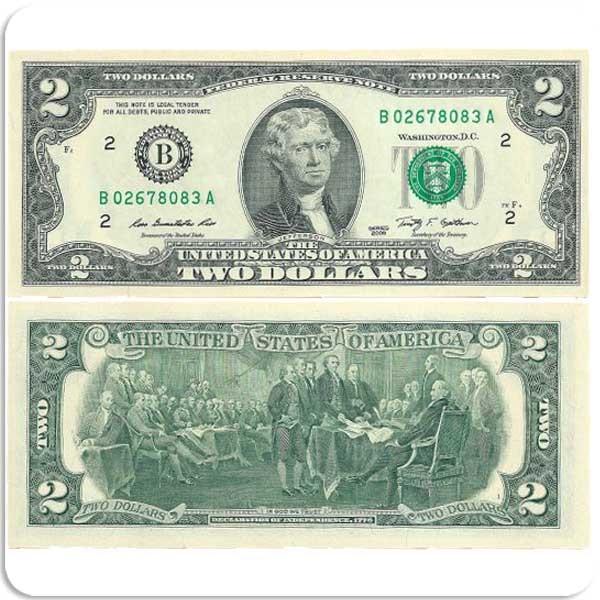"""США 2 доллара 2009 г """"На удачу"""" код 0337"""