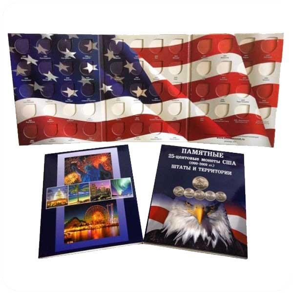 Планшет для хранения ПАМЯТНЫХ 25-центовых МОНЕТ США (1999-2009). ШТАТЫ, ТЕРРИТОРИИ США