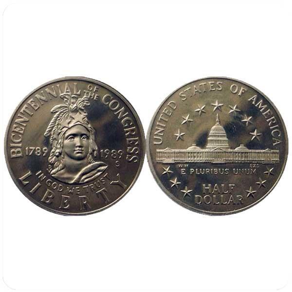"""США 50 центов 1989 года  """"200-летие Конгресса"""""""