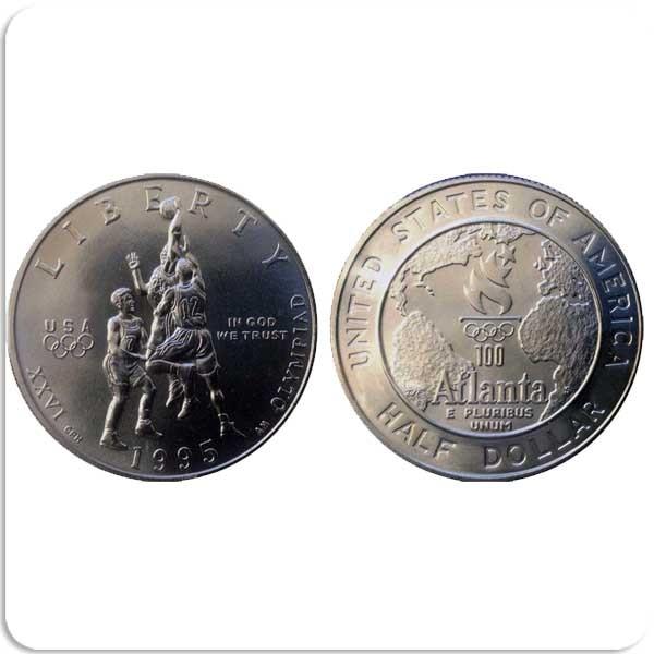 50 центов 1995 Летние Олимпийские Игры 1996 в Атланте. Баскетбол.