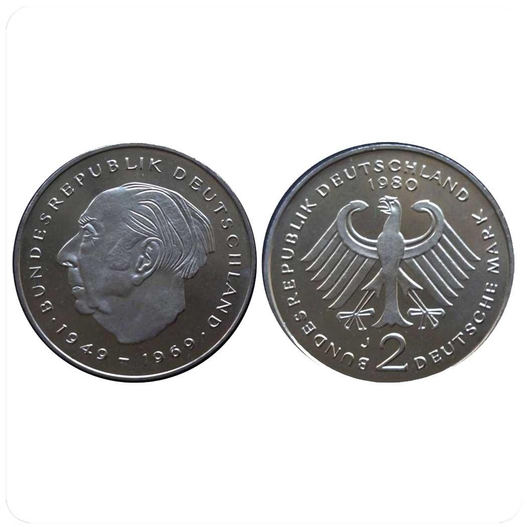 Германия 2 марки Теодор Хойс, 20 лет Федеративной Республике (1949-1969)