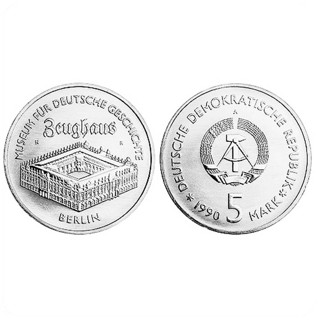 ГДР. 5 марок 1990 г Берлинский арсенал (Цейхгауз) на Унтер-ден-Линден в Берлине код 20740
