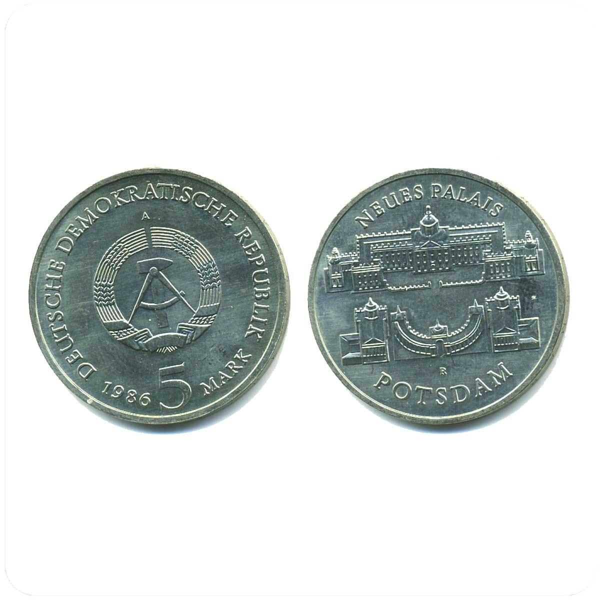 ГДР 5 марок 1986 года Новый дворец в Потсдаме код 20734