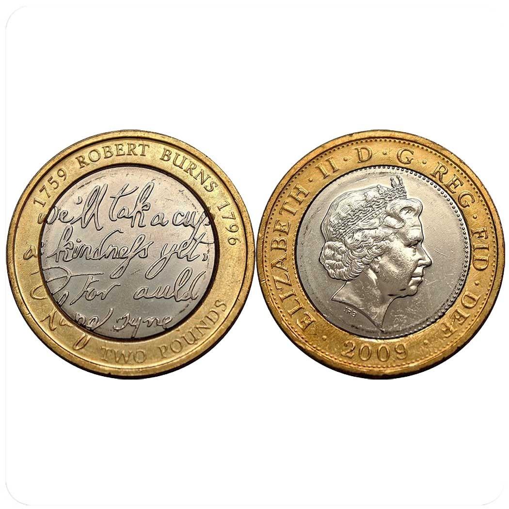 Великобритания 2 фунта 2009 г. (Роберт Бёрнс -250 лет со дня рождения)