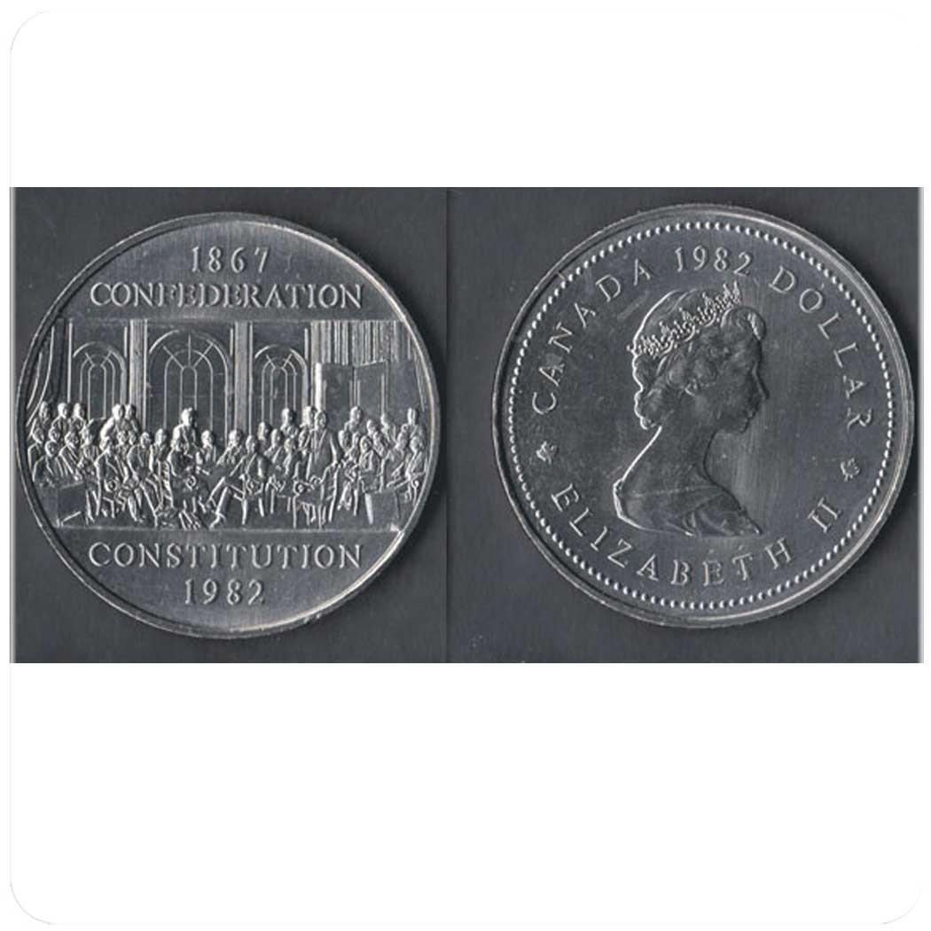 Канада 1 доллар 1982 г 1867 - Конфедерация, 1982 - Конституция