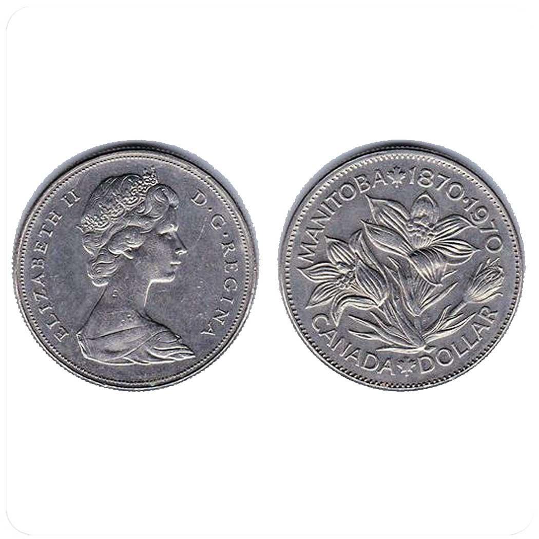 Канада 1 доллар 1970 г 100-летие провинции Канады Манитоба код 20584