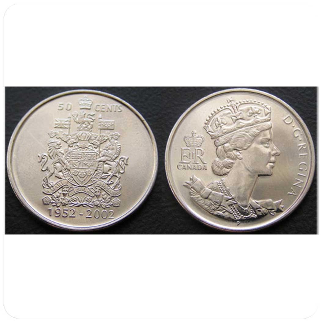 Канада 50 центов 2002 г Золотой юбилей: 50-летие правления Елизаветы II.