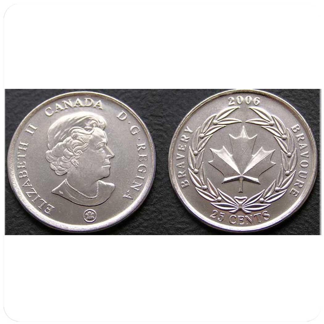 Канада 25 центов 2006 г Канадская Медаль за отвагу код 20594