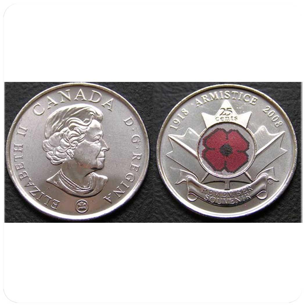 Канада 25 центов 2004 Remembrance Day - День Памяти. 85-ая Годовщина