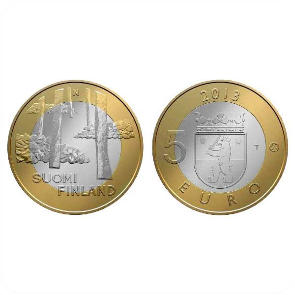 Финляндия 5 евро 2013 Сатакунта, некрополь Саммаллахденмяки