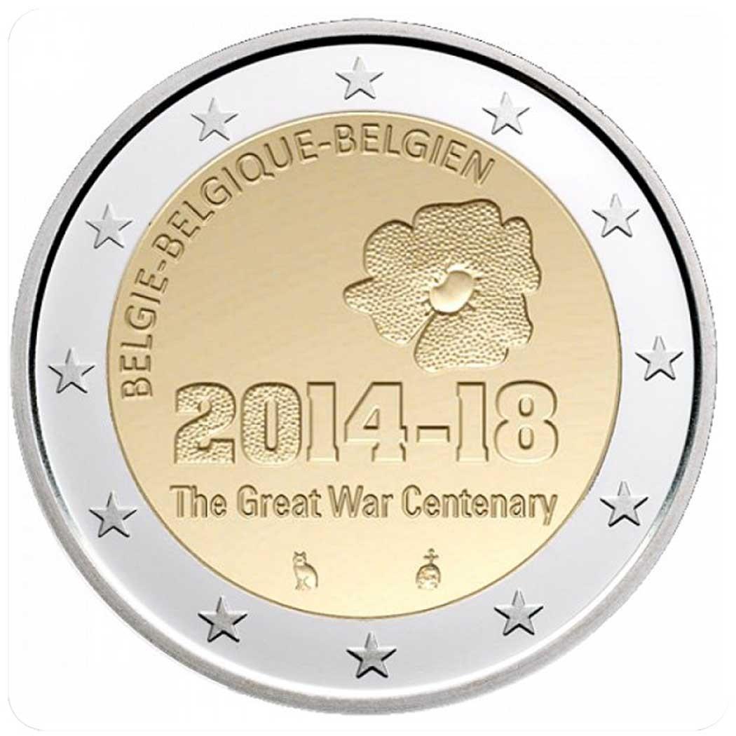 """Бельгия 2 евро 2014 года """"100 лет Первой мировой войне"""" код 21335"""