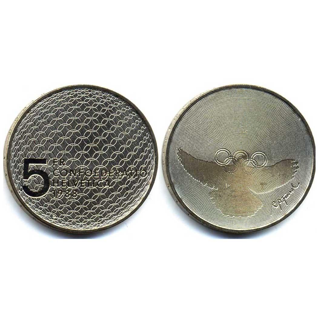 Швейцария 5 франков 1988 года. Олимпийские голубь и кольца.