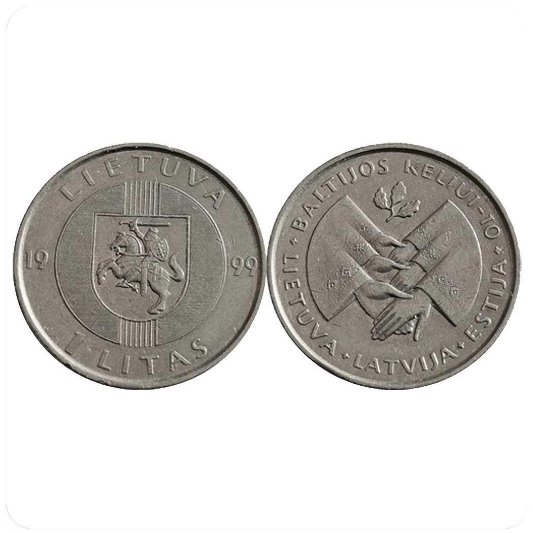 Литва 1 лит 1999 года 10-летие акции
