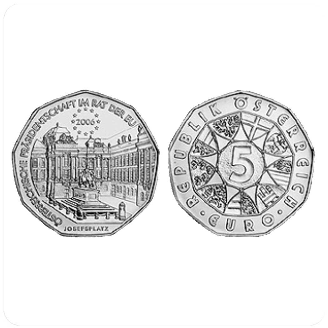 Австрия. 5 евро 2006 (UNC, серебро) Председательство Австрии в Евросоюзе