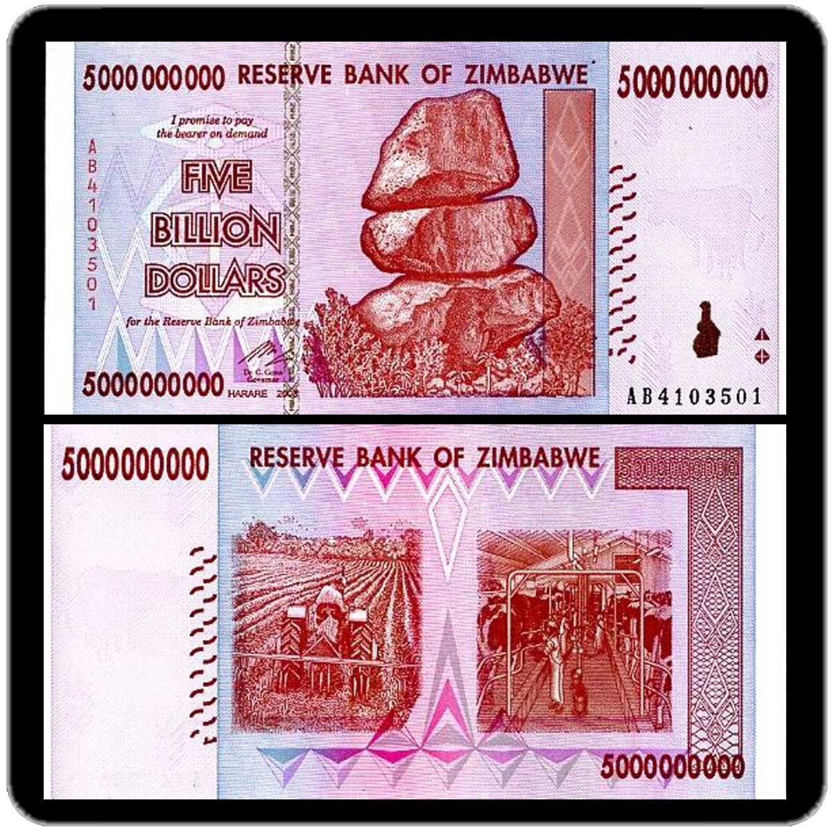 Зимбабве 5 миллиардов долларов 2008 года код 0142