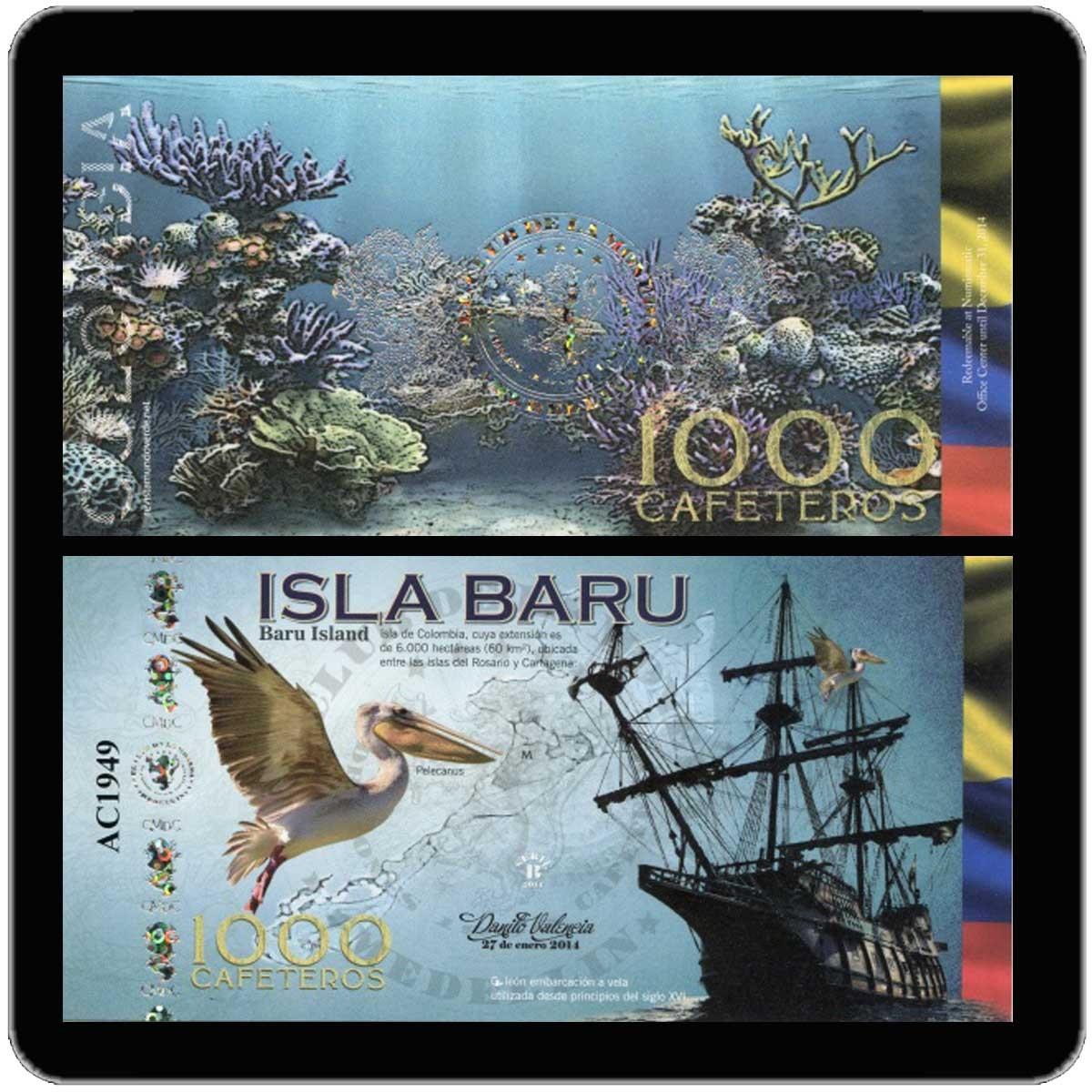 Колумбия 1000 кафетерос 2014 года (юбилейная банкнота) код 0322