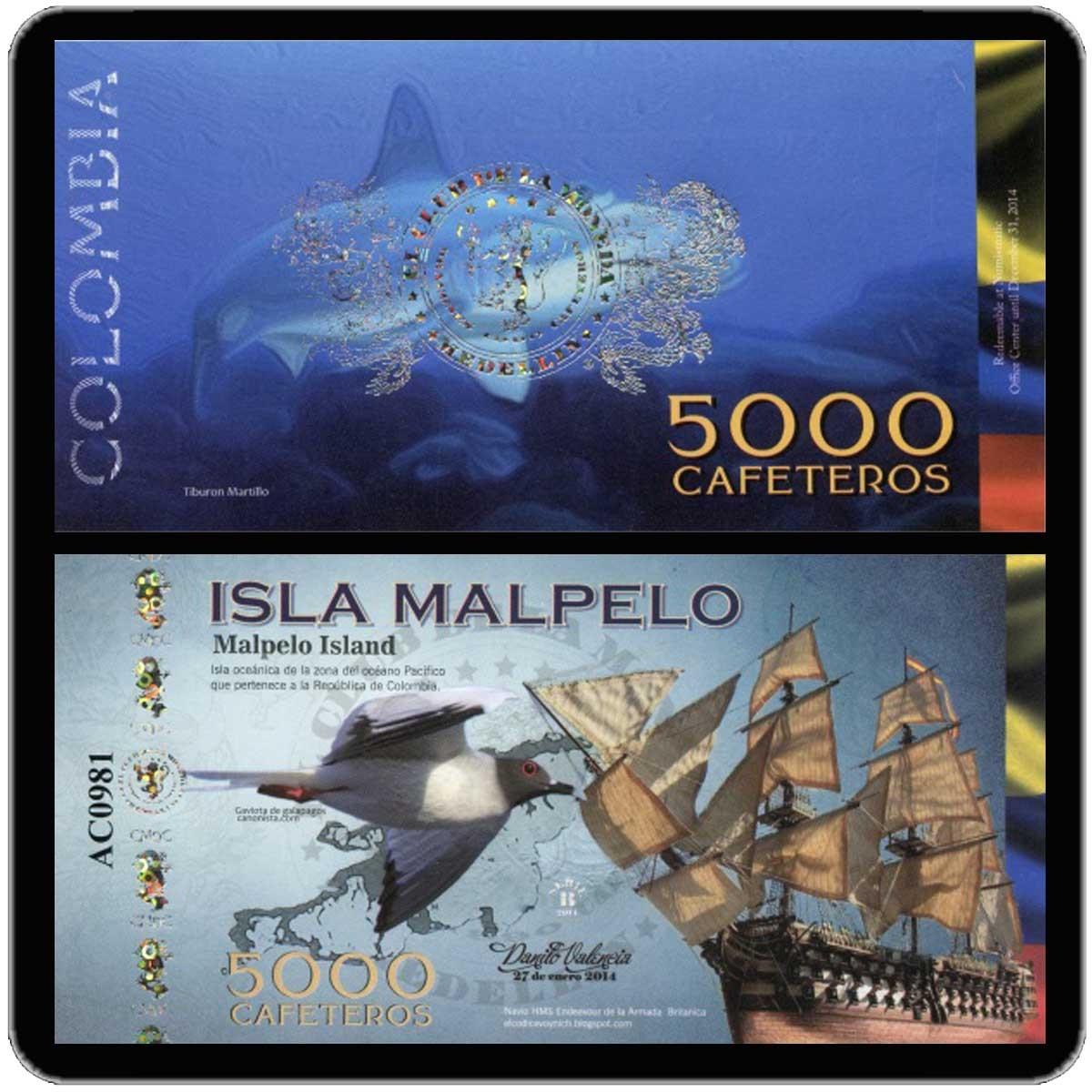 Колумбия 5000 кафетерос 2014 года (юбилейная банкнота) код 0324
