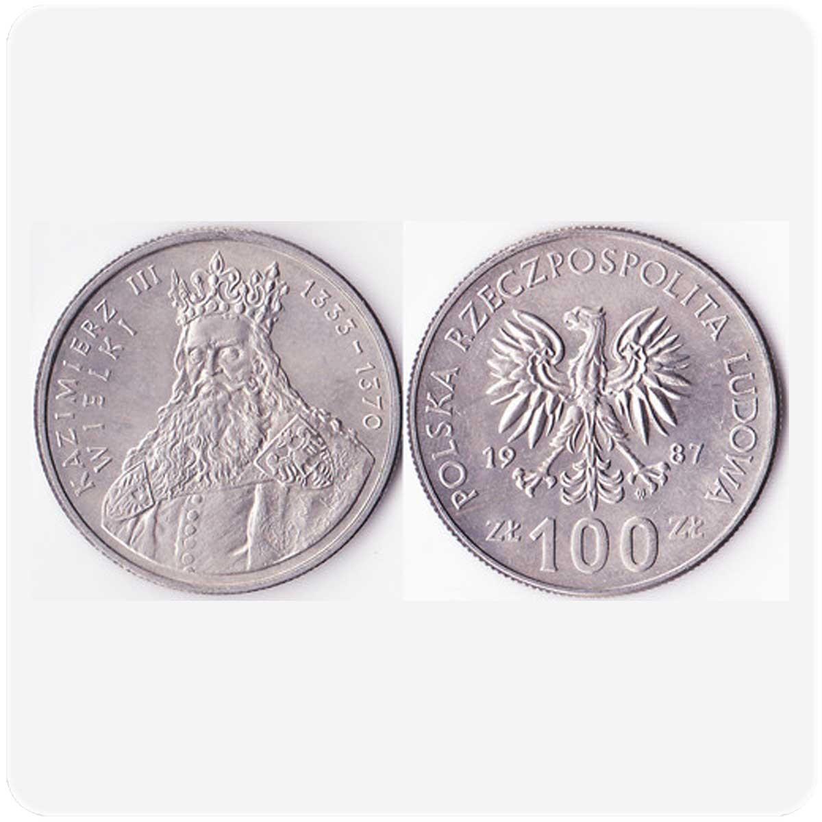 """Польша 100 злотых 1987 года серия """"Польские короли"""" Казимир III Великий код 20897"""