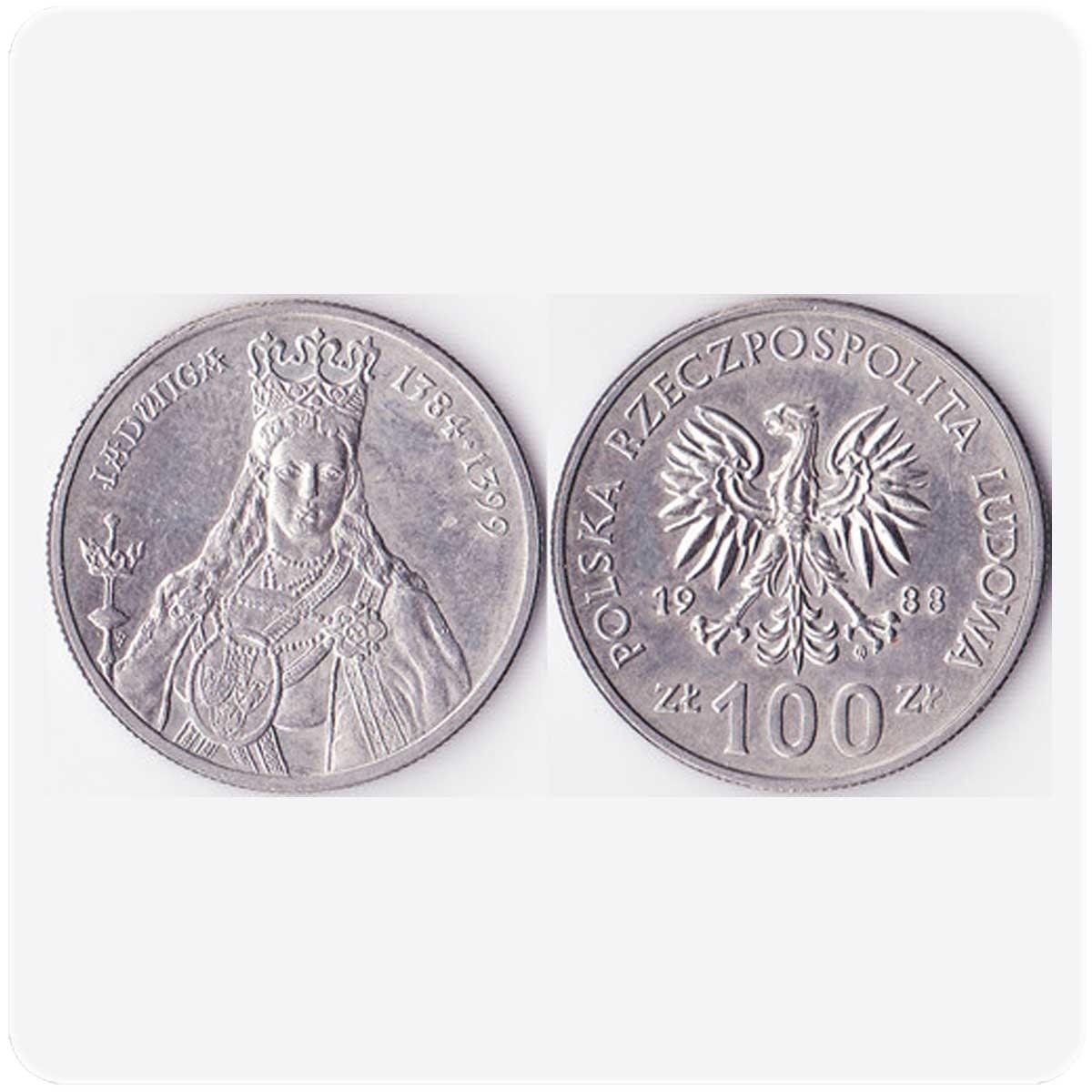 """Польша 100 злотых 1988 года серия """"Польские короли"""" Ядвига код 20898"""