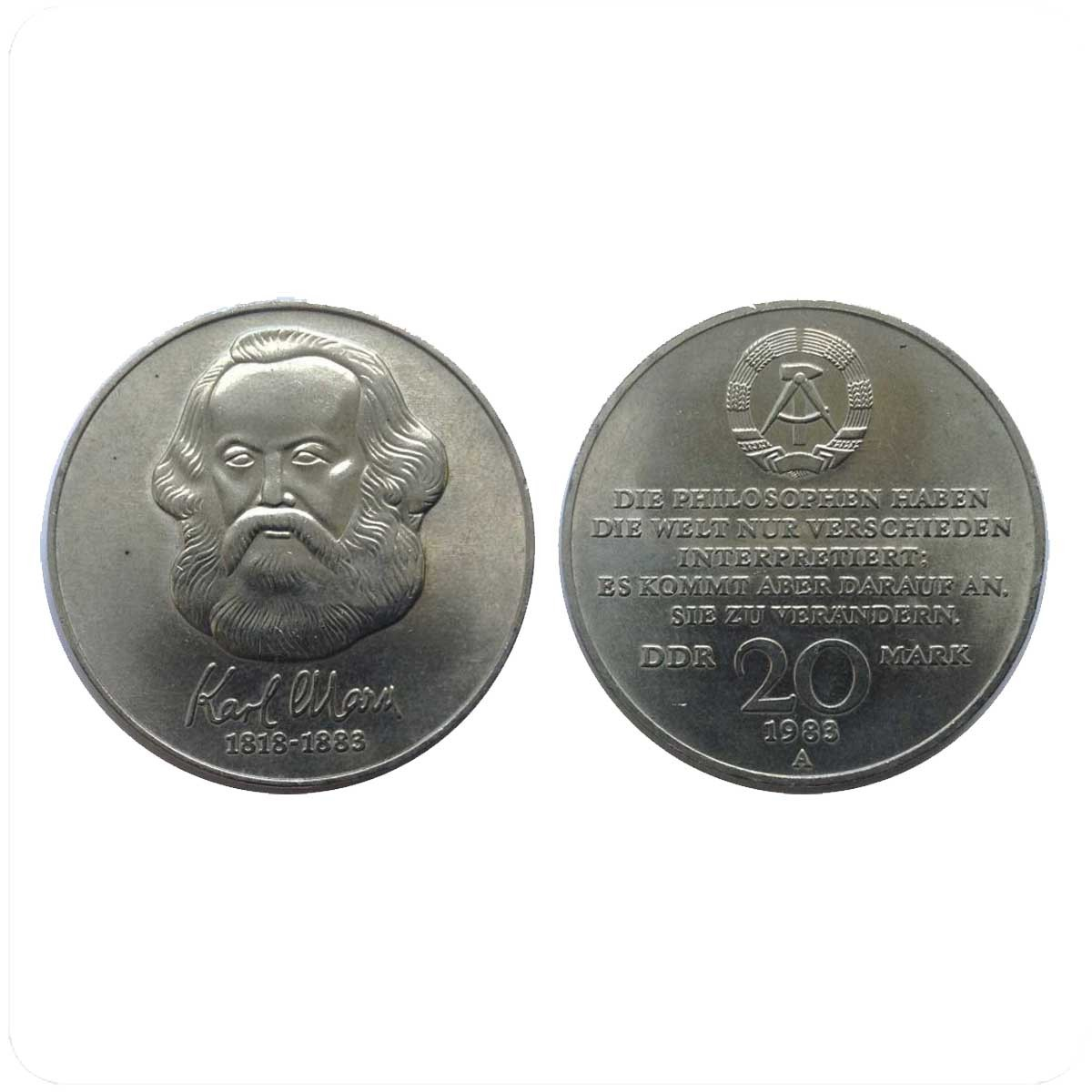 ГДР 20 марок 1983 года 100 лет со смерти Карла Маркса