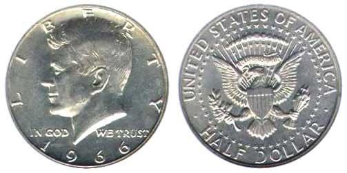 США 50 центов 1966 года Серебро код 20663