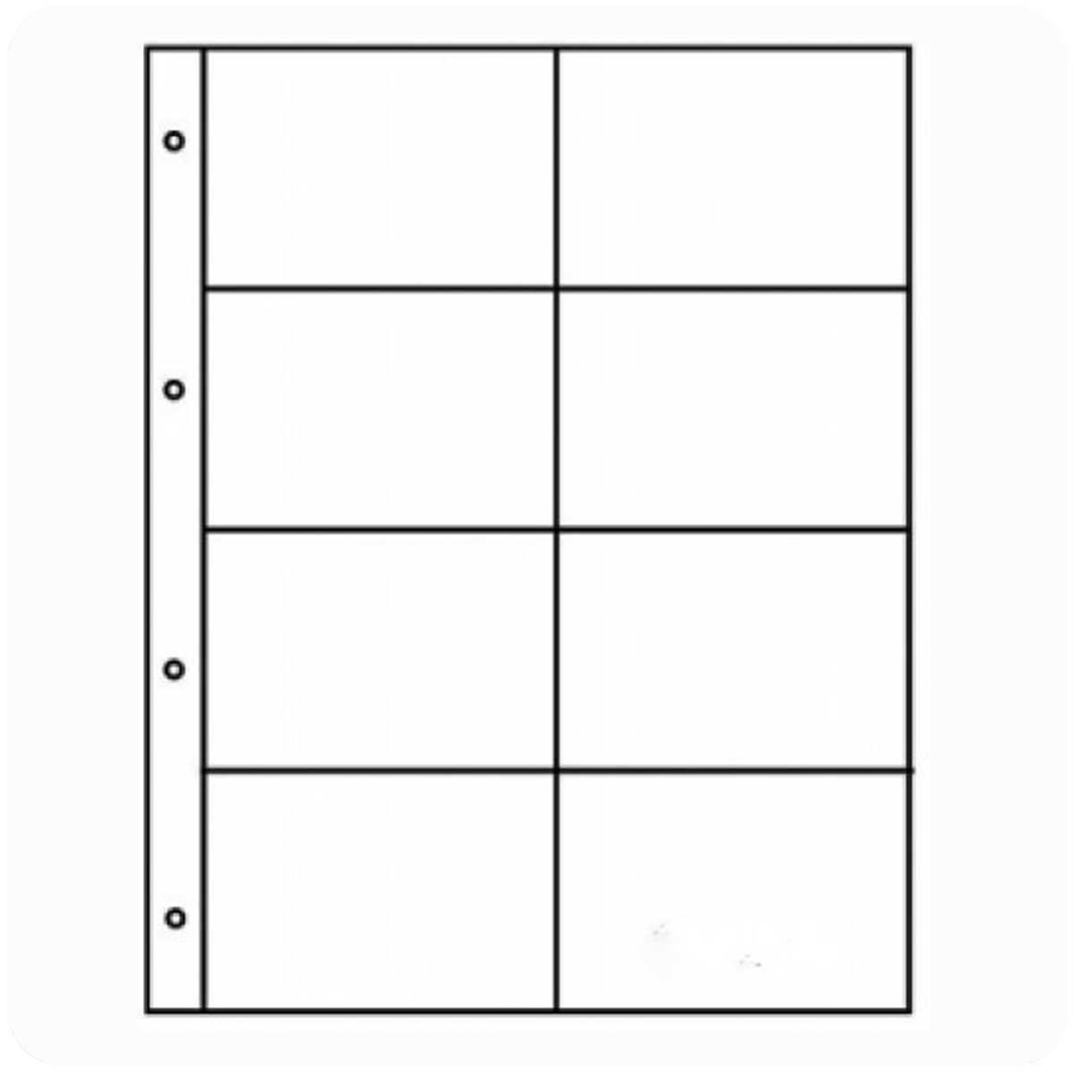 Лист на 8 ячеек в альбом для хранения БОН или горизонтальных календарей. Формат ГРАНД