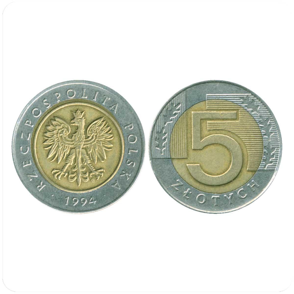 Польские монеты 5 злотых 1994 года купить монеты георгий победоносец цена