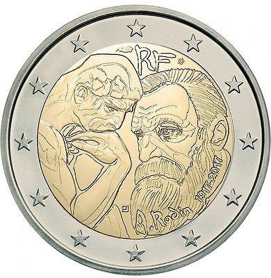Франция 2 евро 2017 года 100 лет со дня смерти Огюста Родена код 21337