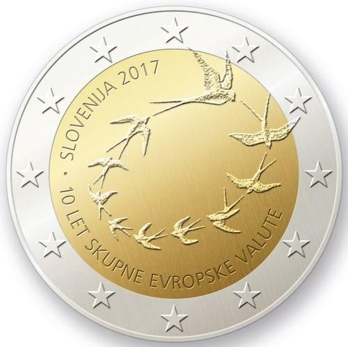 Словения 2 евро 2017 года 10 лет обращения ЕВРО в Словении код 21340