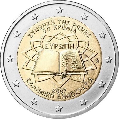 Греция 2 евро 2007 года Римский договор код 21347