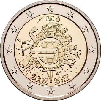 Бельгия 2 евро 2012 года 10 лет наличному обращению евро код 21348