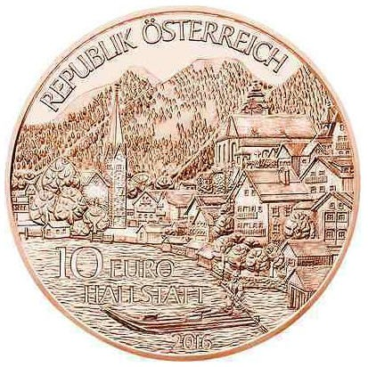 Австрия 10 евро 2016 года Верхняя Австрия. Халльштатт код 21352