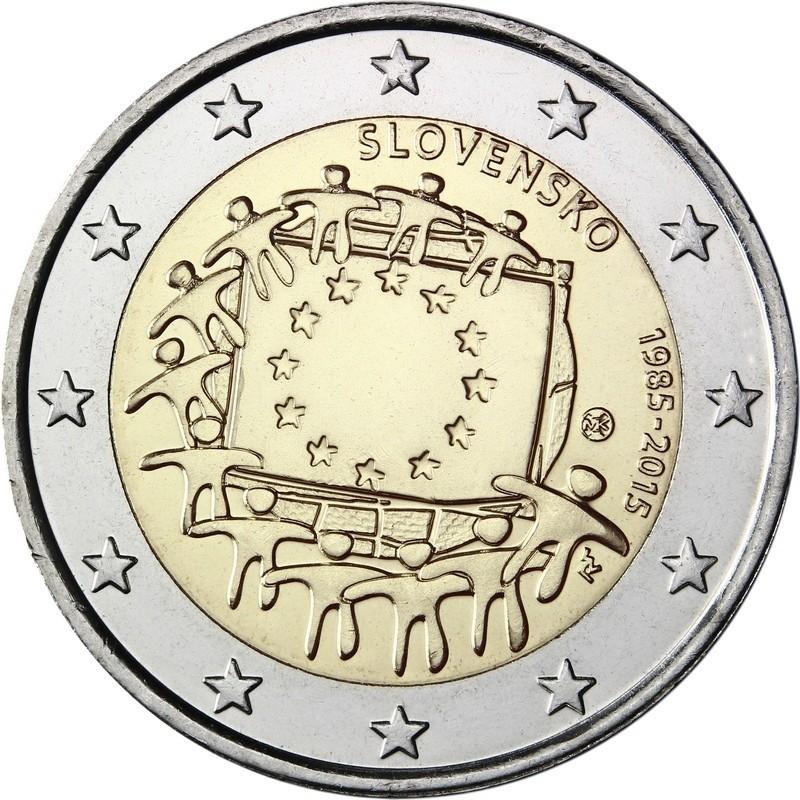 Словакия 2 евро 2015 года 30 лет флагу ЕС  код 21367