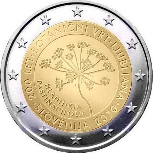 Словения 2 евро 2010 года 200 лет Ботаническому саду в Любляне код 21372