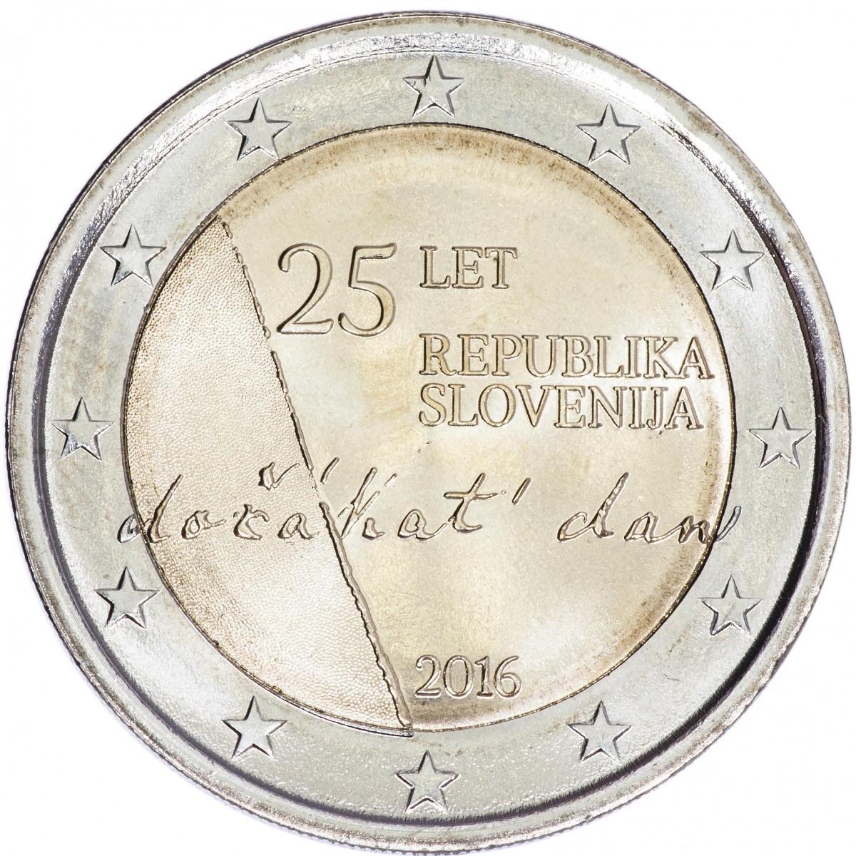Словения 2 евро 2016 года 25 лет принятия независимости код 21374