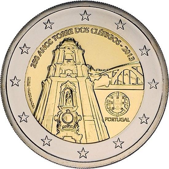 Португалия 2 евро 2013 года 250-летие возведения колокольни церкви Клеригуш код 21376