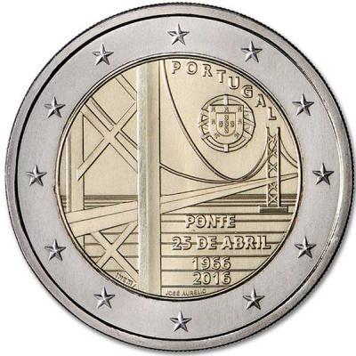 Португалия 2 евро 2016 года 50-летие моста имени 25 апреля код 21380