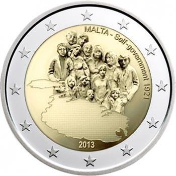Мальта 2 евро 2013 года Собственное правительство 1921 года код 21385