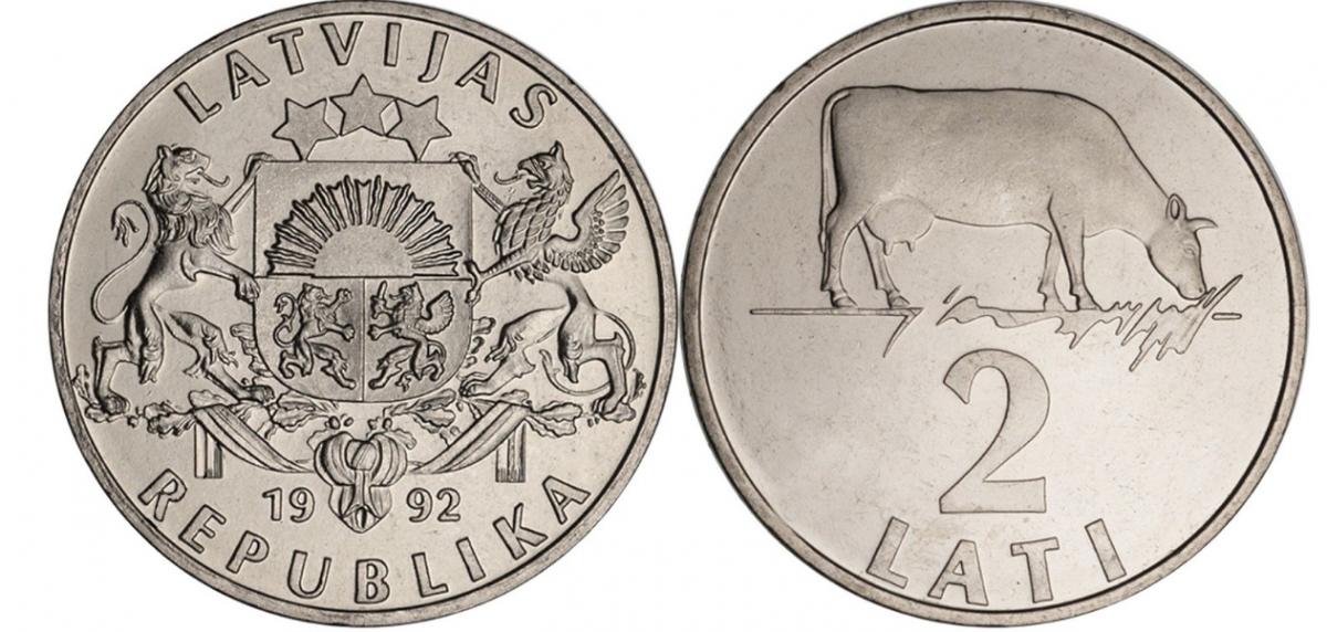 Латвия 2 лата 1992 года Корова код 21398