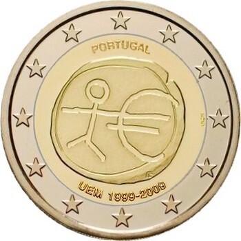 Португалия 2 евро 2009 года 10 лет Экономическому и валютному союзу код 21414
