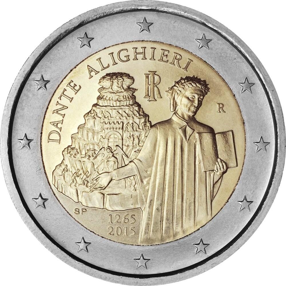 Италия 2 евро 2015 года 750 лет со дня рождения Данте Алигьери код 21421