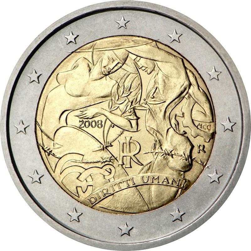 Италия 2 евро 2008 года 60-летие принятия Всеобщей декларации прав человека код 21422