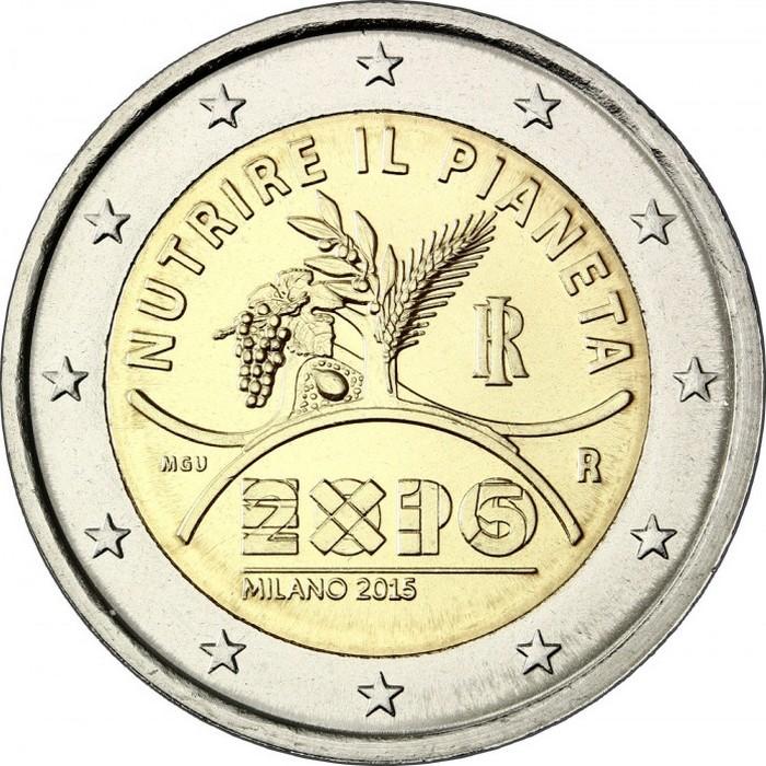 Италия 2 евро 2015 года Expo 2015 в Милане код 21423