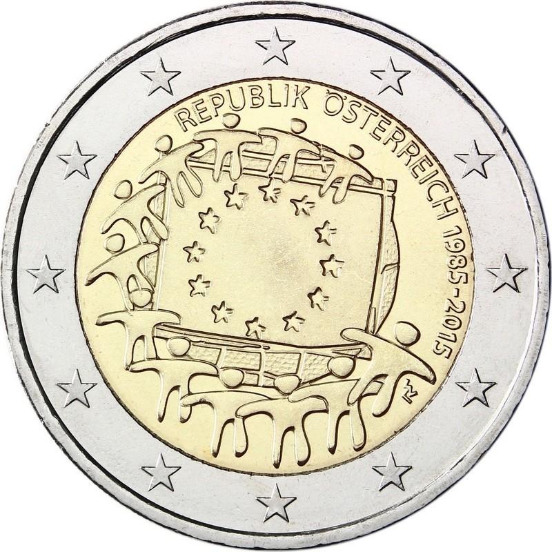 Австрия 2 евро 2015 года 30 лет флагу ЕС код 21425