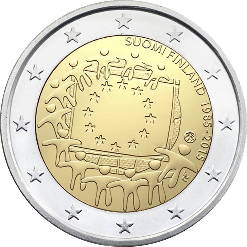 Финляндия 2 евро 2015 года 30 лет флагу ЕС код 21426