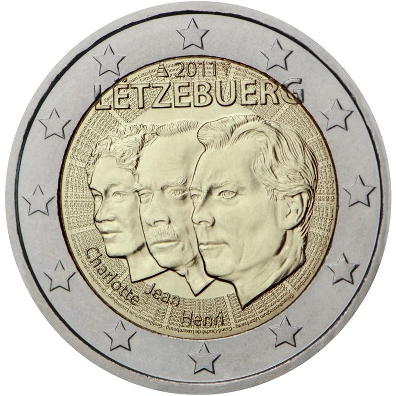 Люксембург 2 евро 2011 года 50 лет назначения наследного Великого герцога Люксембурга Жана титулом «лейтенант-представитель» Великой герцогини Шарлотты код 21434