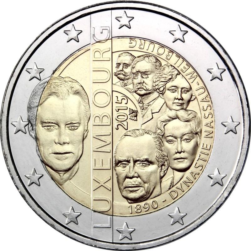 Люксембург 2 евро 2015 года 125-летие династии Нассау-Вайльбург код 21439