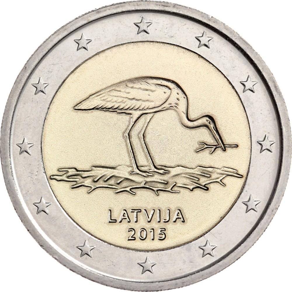 Латвия 2 евро 2015 года Чёрный аист. Природа в опасности! код 21442
