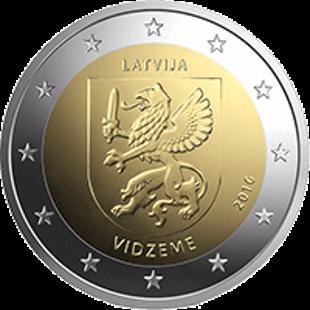 Латвия 2 евро 2016 года Видземе код 21443