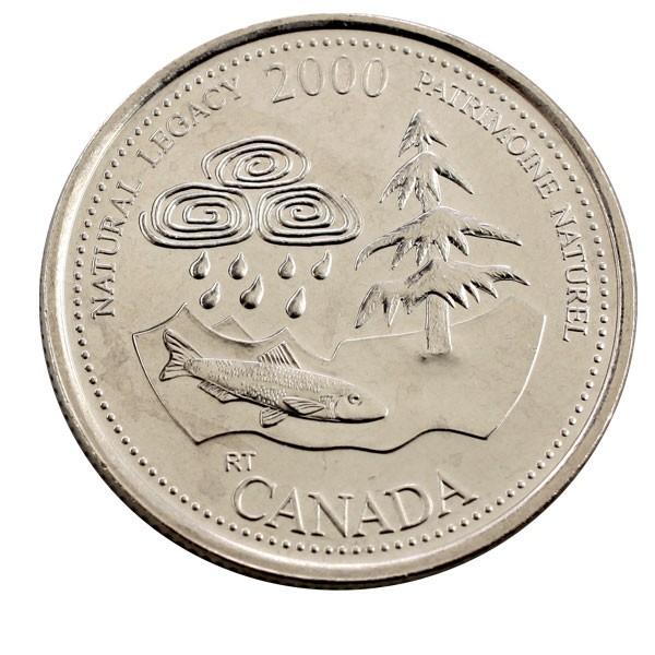 """Канада 25 центов 2000 года. Серия """"Миллениум"""" Природное наследие (Natural legacy) код 21480"""
